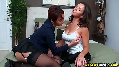 Latina lesbian undressing with Tessa Arias and Shae Summers slowly going down